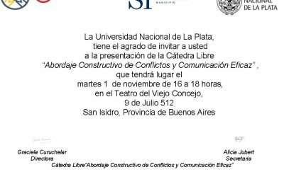 """Teatro del Viejo Concejo, San Isidro.Presentación de la Cátedra Libre """"Abordaje constructivo de conflictos y comunicación eficaz"""""""