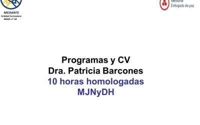 Programas «Habilidades sociales aplicadas a la gestión constructiva de conflictos»; «La mediación penal como práctica restaurativa» y CV  Dra.Patricia Barcones