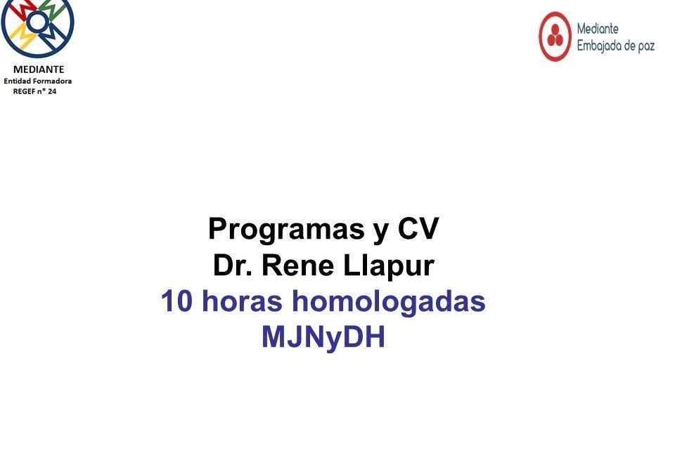 Programa y cv Rene LLapur y Monica Lopez