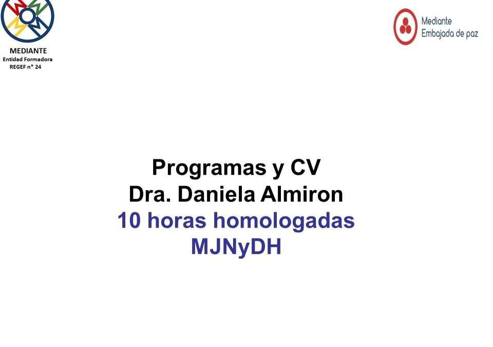 Programas y CV Dra. Daniela Almiron