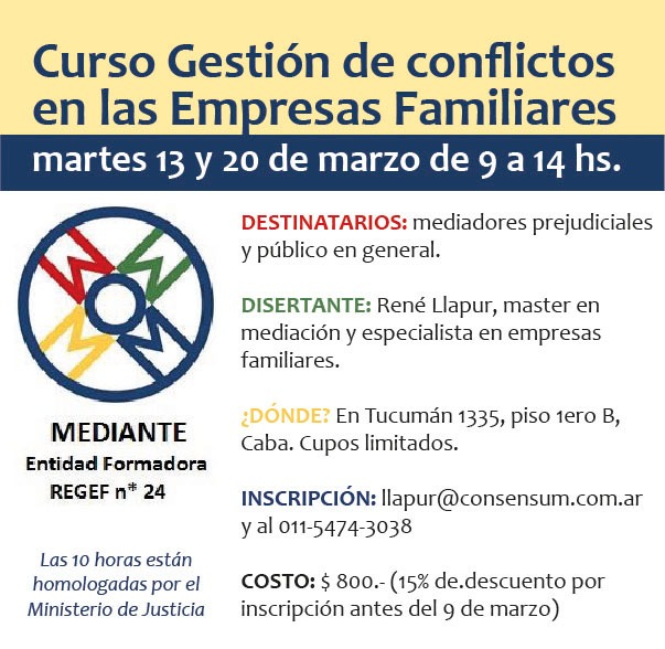 """""""Gestión de Conflictos en Empresas Familiares"""", 10 horas homoogadas por el MJN"""