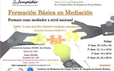 Declarado de interés judicial! Formación Básica en Mediación en Puerto Madryn!