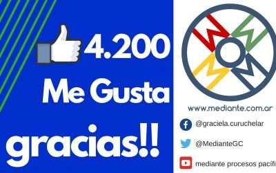 4200 Me gusta en Facebook de Mediante! Gracias!!