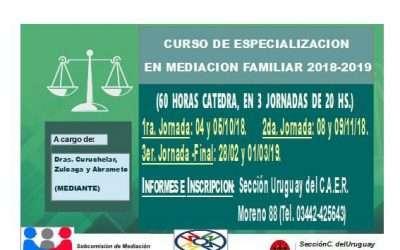 Cupo completo!!Especialización en Mediación Familiar, Colegio de Abogados de Concepción del Uruguay, Provincia de Entre Ríos